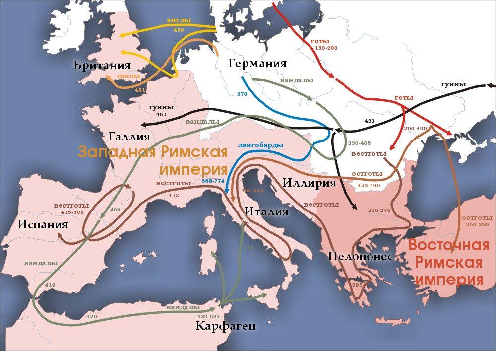"""Карта """"Великого переселения"""". (Wikipedia.org)"""
